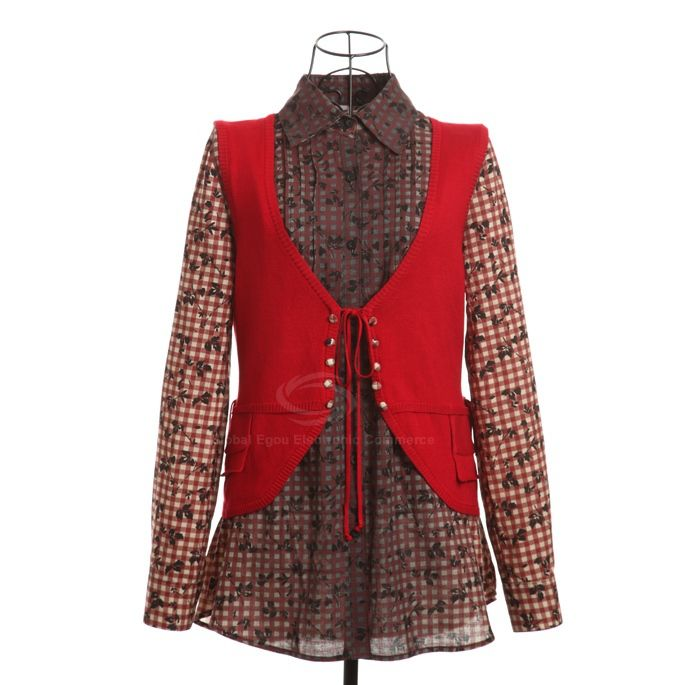 Stylish Shirt Collar Splicing Design Checked Pattern Faux Twinset Embellished Cotton Thread Multicolor Women's Caidigan