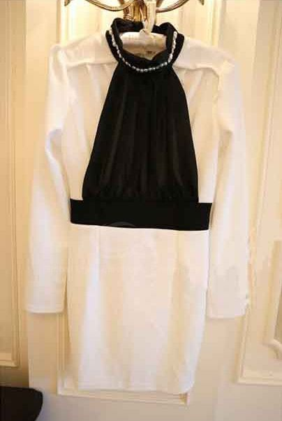 Elegant Style Splicing Pleated Design Stand Collar Long Sleeve Cotton Blend Women's Dress