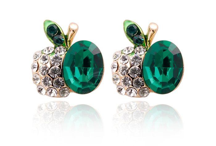 Chic Sparking Elegant Rhinestone Embellished Cherry Shape Women's Stud Earrings