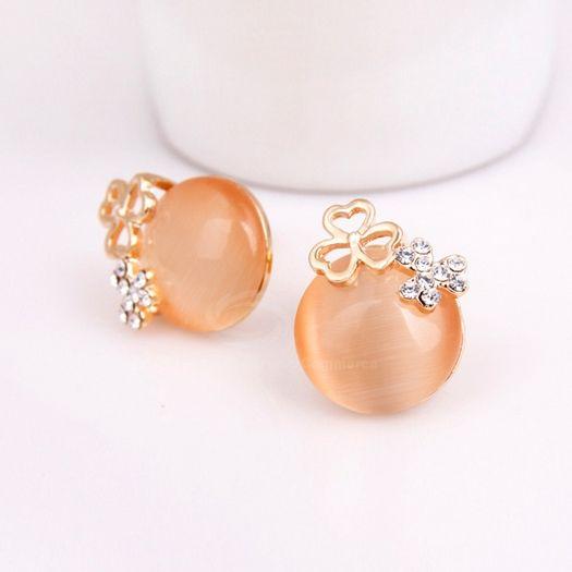Pair of Rhinestone Decorated Clover Shape Stud Earrings