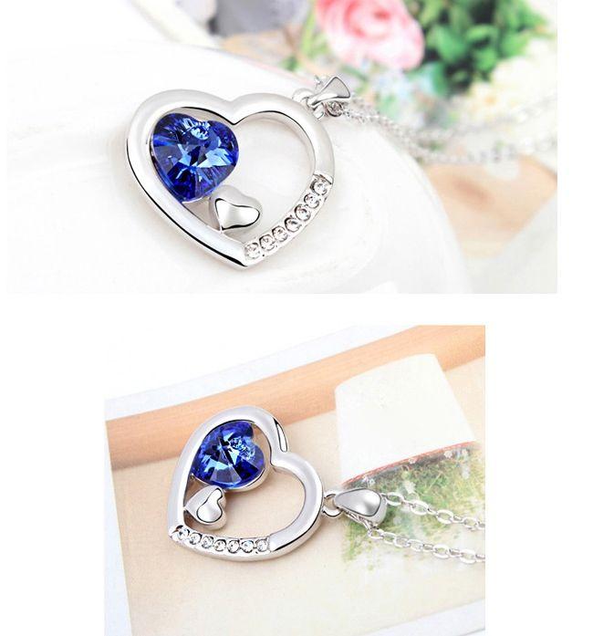 Exquisite Elegant Style Crystal Embellished Heart Shape Women's Necklace