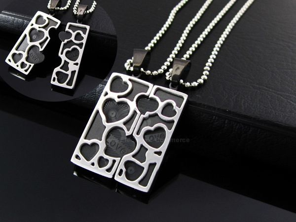 Korea Fashion Heart Splicing Square Pendant Couple's Titanium Steel Necklace