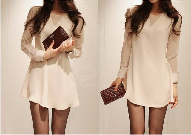 Slim Fit Scoop Neck Simple Long Sleeves Chiffon Women's Dress