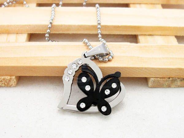Sweet Elegant Style Butterfly Shape Rhinestone Inlaid Women's Sweater Chain Necklace