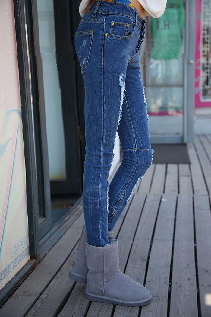 Modern Style Abrasion Design Solid Color Slim Fit Denim Women's Pencil Pants