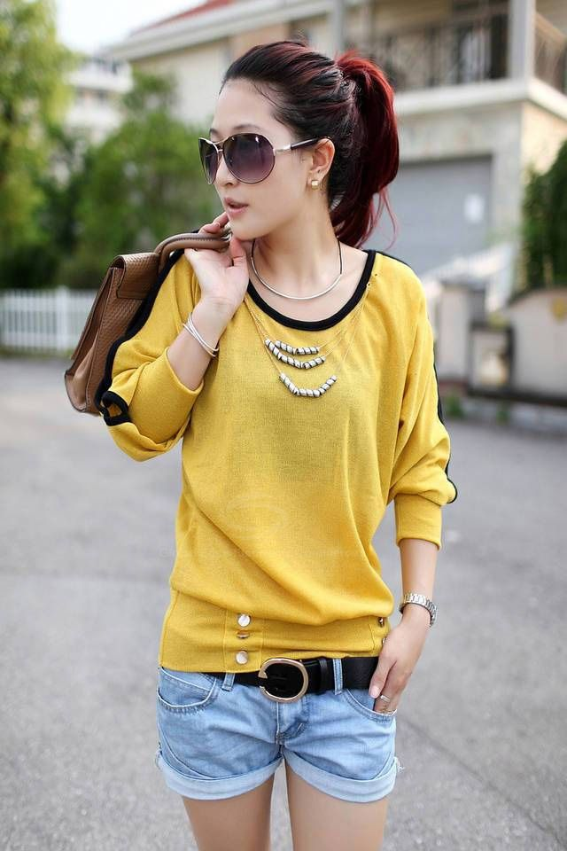 Casual Style Candy Color Openwork Design Long Sleeve Cotton Women's T-Shirt