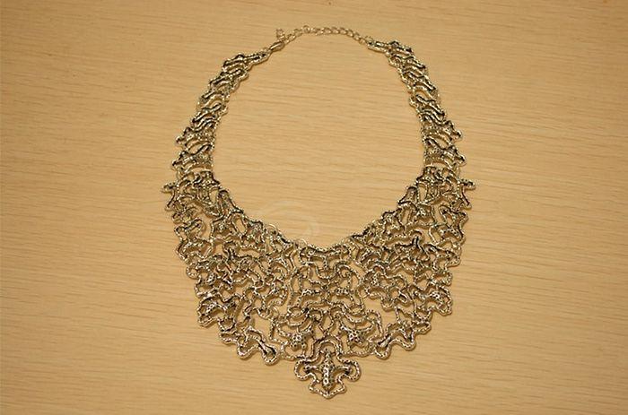 Vintage Openwork Jacquard Pattern Embellished Necklace