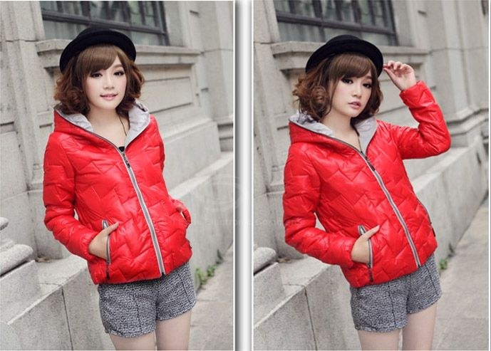Casual Style Candy Color Hooded Long Sleeve Cotton Padded Women's Short Coat (Without Scarf)