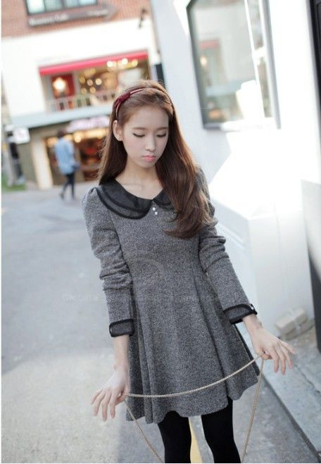 Vintage Style Peter Pan Neck Long Sleeves Flare Hem Double Layer Collar Fitted Cotton Blend Women's Dress