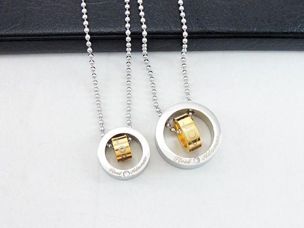 Fashion Exquisite Circle Pendant Design Titanium Steel Necklaces For Couple
