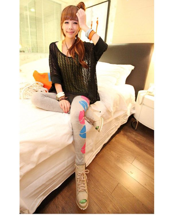Slim Fit Lively Lip Print Candy Color Women's Leggings