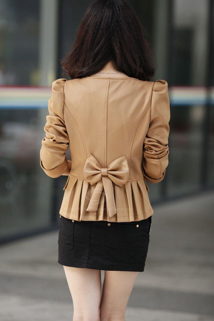 Solid Color Bowknot Embellished Short Blazers