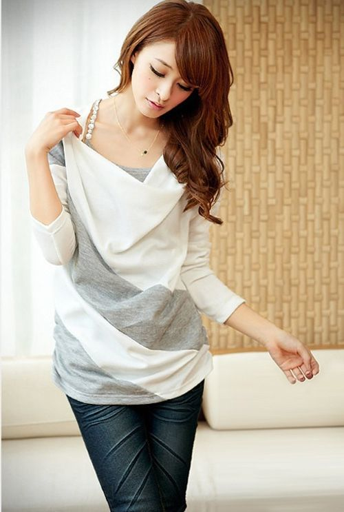 Color Matching Batwing Sleeve Cowl Neck Women's T-Shirt