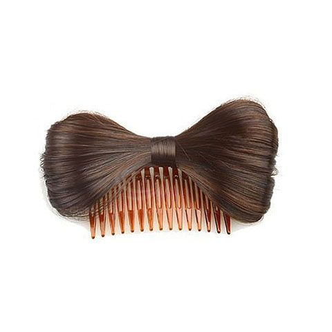 Lady Like Bowtie Type Hair Comb Design Heat Resistant Fiber Women's Wig