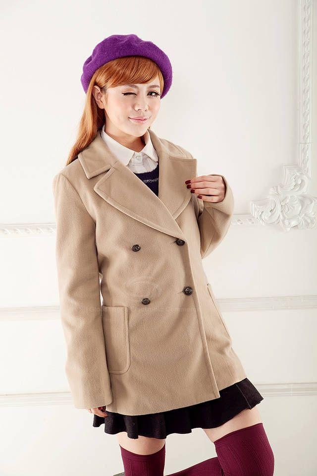 Stylish Style Double-Breasted Design Women's Coat