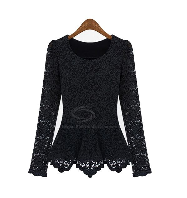 Gorgeous Scoop Neck Long Sleeves Flared Hem Lace Covered Cotton Blend Women's T-Shirt