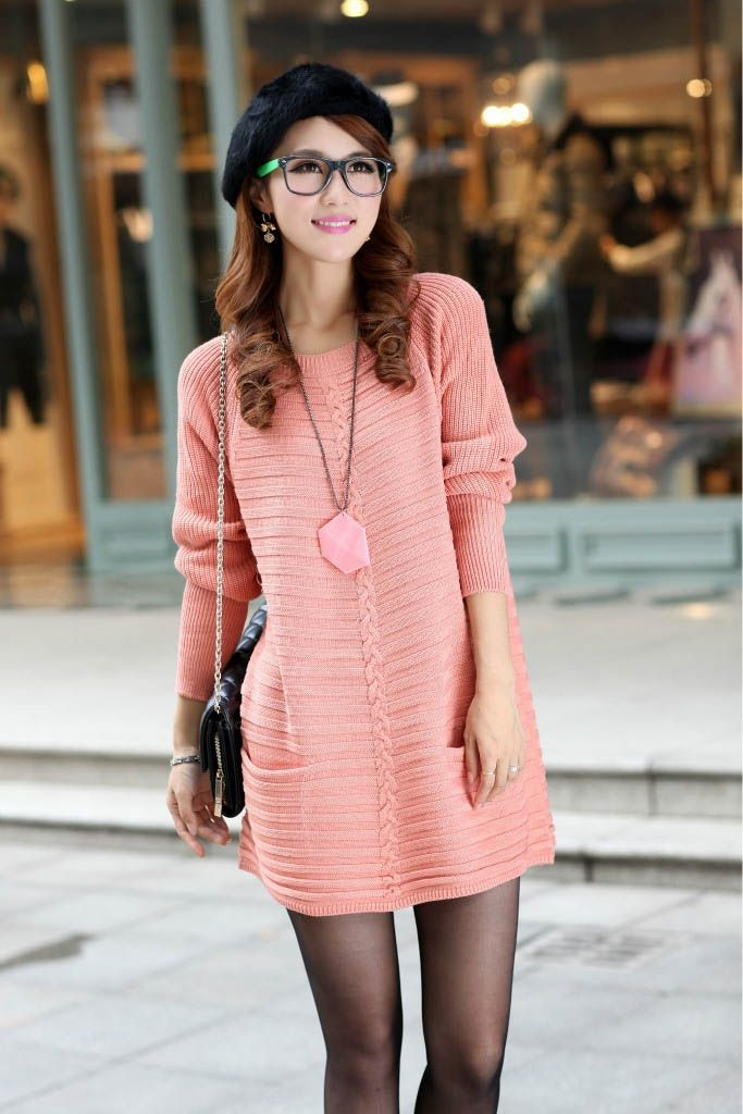 Ladylike style long sleeves scoop neck pocket embellished for Oficinas chicas