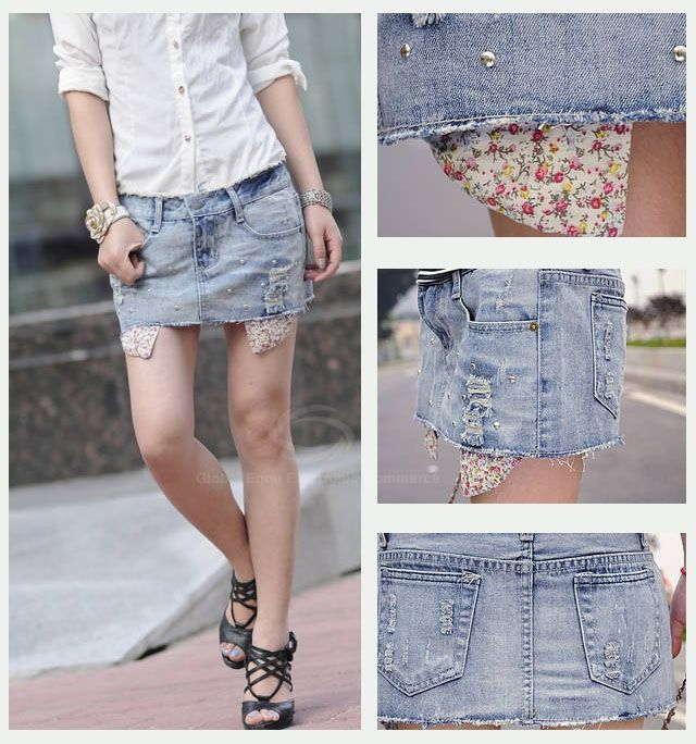 Corean Fashion and Casual Wear-out Pattern and Beads Decorated Jeans Skirt