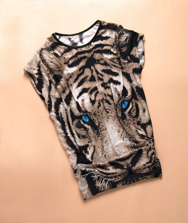 Tiger Print Tunic Graphic T-shirt