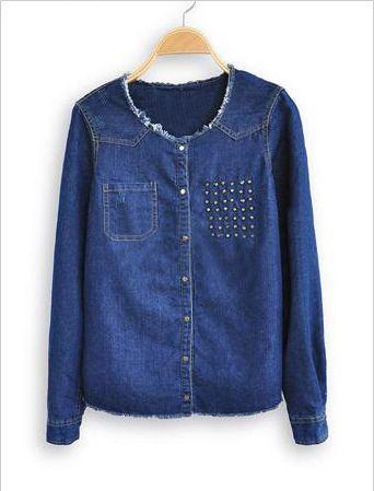 Stylish Scoop Neck Long Sleeves Stud Embellished All-Match Denim Women's Jacket