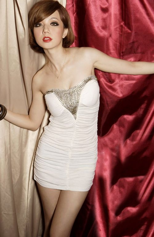 Sexy Strapless Sequin Embellished Wrapped Design Milk Silk Women's Dress