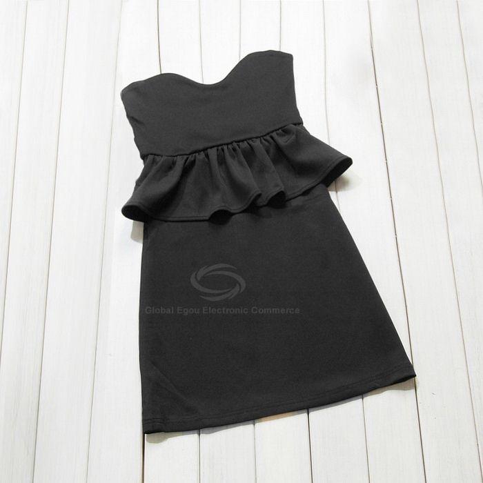 Fashion Sexy Style Pluning Neck Design Flounce Bodycon Dress For Women