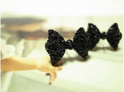 Rhinestone Embellished Bowknot Stud Earrings