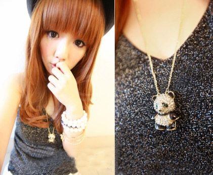 Rhinestone Panda Shape Pendant Necklace