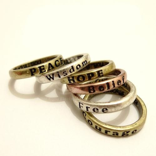 8Pcs Antique Letter Carved Wishing Rings
