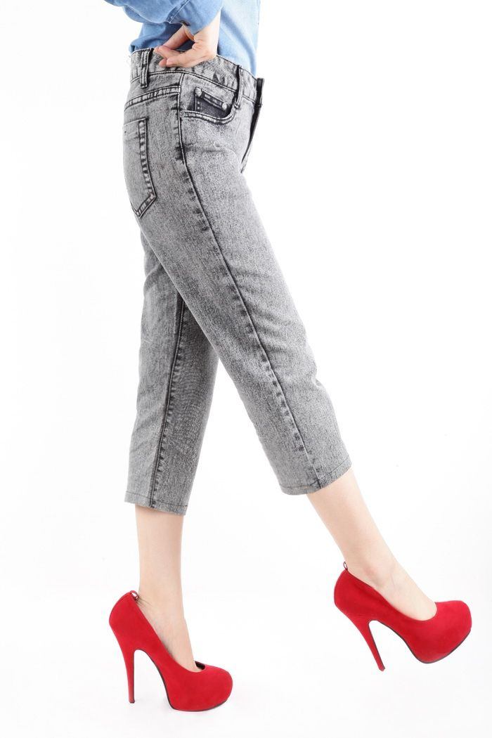 Casual Bleach Wash Straight Leg Women's Short Jeans
