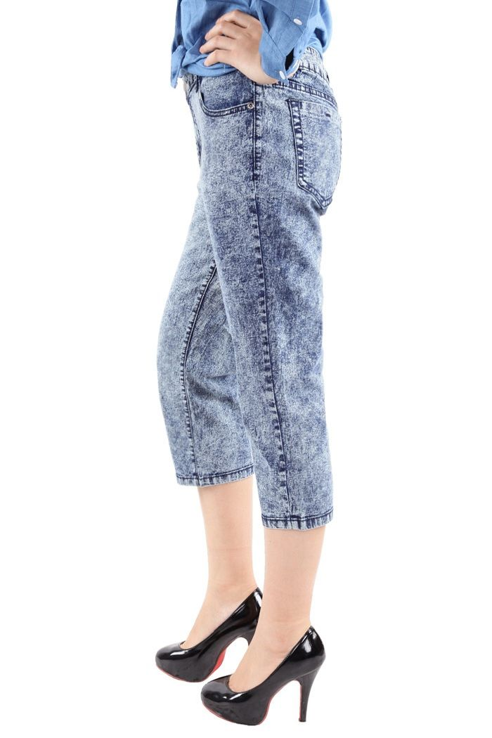 Casual Style Bleach Wash Straight Leg Jeans For Women