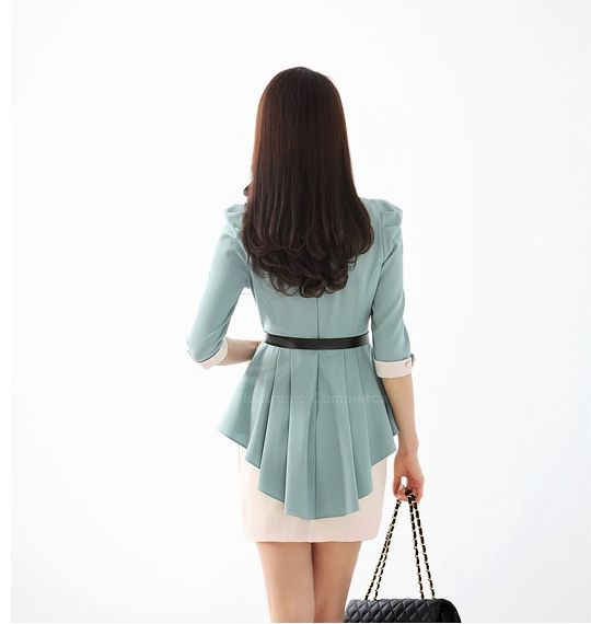 Ladylike Scoop Neck Solid Color Fake Two Piece With Waistbelt Splicing Three Quater Sleeves Chiffon Women's Dress