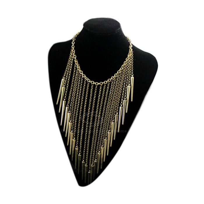 Punk Fringed Rivet Pendant Necklace