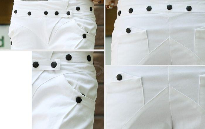 Street Style Button Embellished Solid Color Slimming Women's Harem Pants