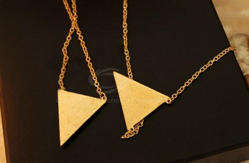 Retro Triangle Pendant Sweater Chain Necklace