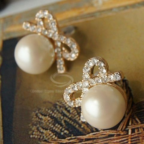 Pair of Fashion Rhinestoned Bowknot Women's Stud Earrings