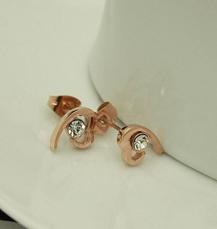 Pair of Heart Shape Rhinestone Embellished Earrings
