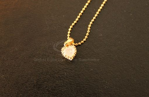 Faux Crystal Heart Shaped Pendant Necklace