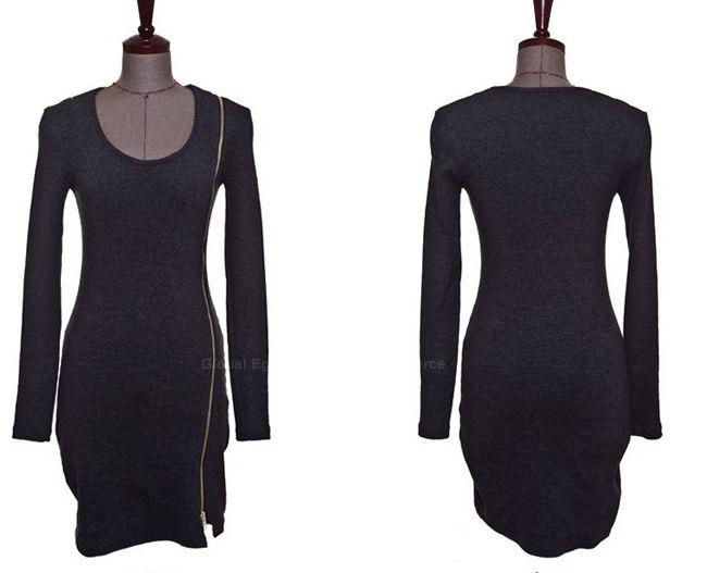 Scoop Neck Solid Color Zip Decorated Women's Long Sleeve Dresses