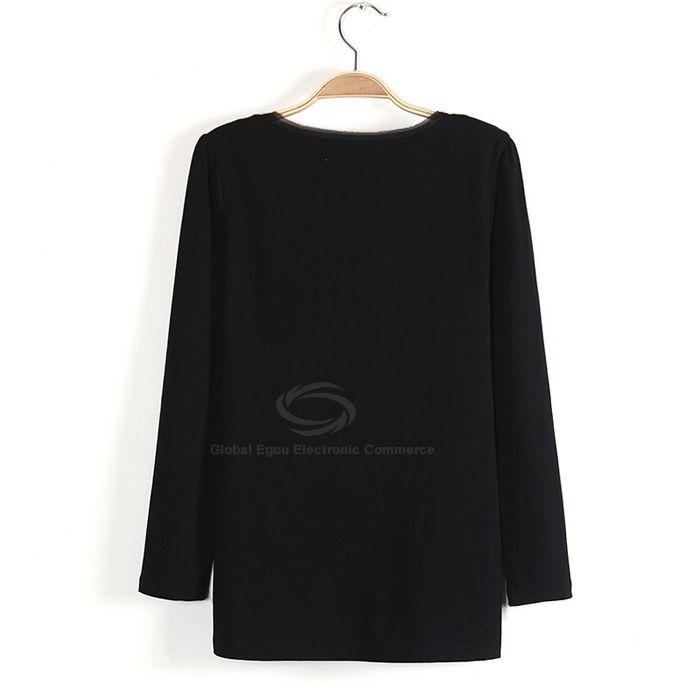 Fashionable Scoop Neck Long Sleeves Little Girl Print Cotton Blend Women's T-Shirt
