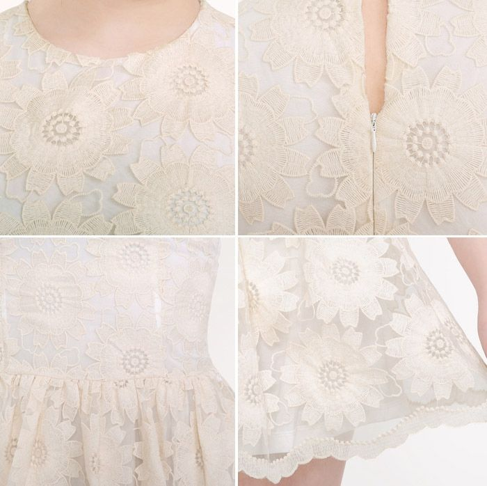 Princess Sunflower Pattern Sleeveless Lace Women's Spring Dress