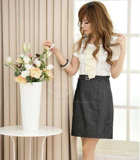 Preppy Style Square Neck Splice Design Narrow Waist Women's Dress With Belt