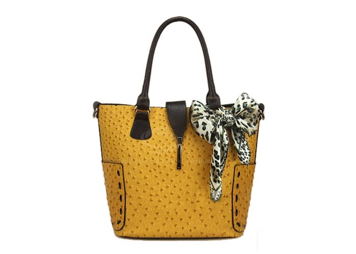 Casual PU Leather and Ostrich Patterns Zipper Design Women's Tote