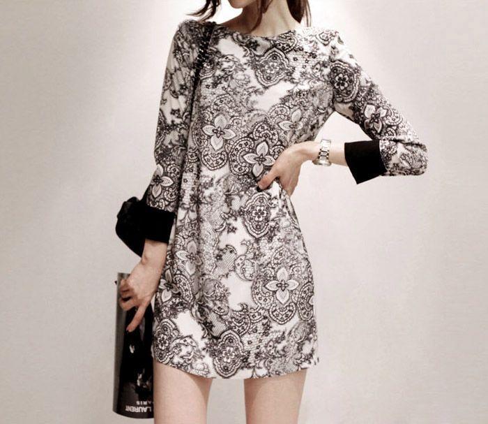 Vintage Style Scoop Neck Printing Long Sleeve Women's Dress