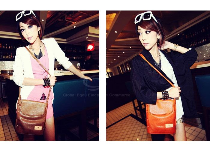 Casual PU Leather Small Size and Bucket Pattern Design Women's Cross-Body Bag