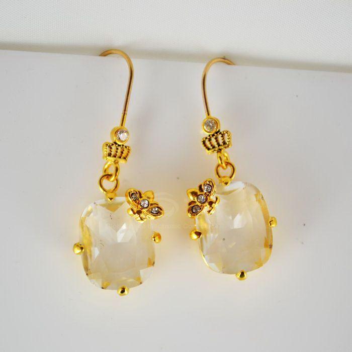 Pair of Zircon Embellished Hook Earrings