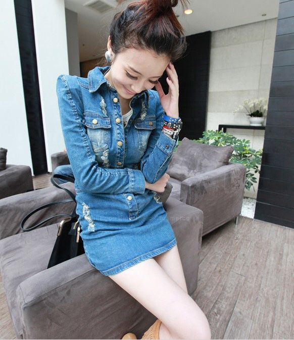 Slimming With Belt Bleached Washing Hole Design Denim Women's Dress