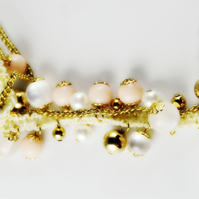 Ladylike Style Opal and Pearl Embellished Women's Sweater Chain Necklace