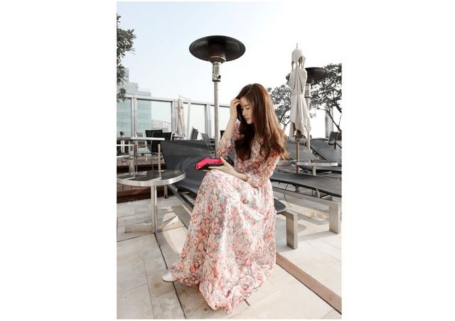 Bohemian Style Round Collar Tiny Floral Print Long Sleeve Chiffon Women's Spring Dress