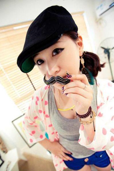 Mustache Shape Solid Color Pendant Design Women's Sweater Chain Necklace